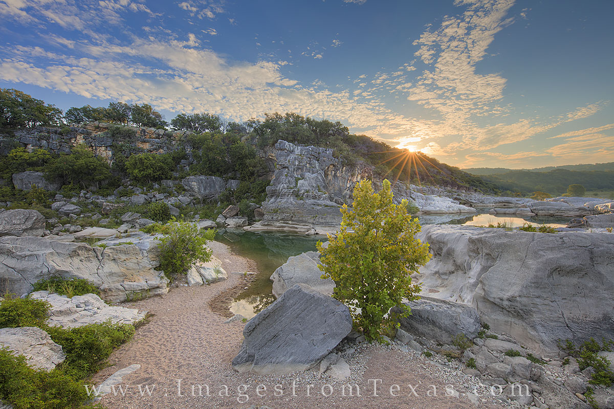pedernales falls, texas hill country, pedernales river, sunrise, water, texas state parks, state park images, september, hill country images, pedernales images, photo