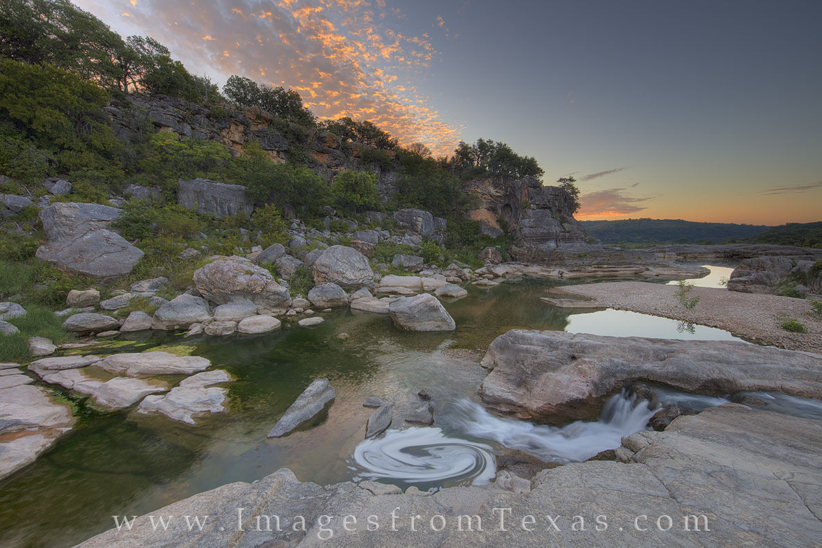 pedernales falls, texas hill country, pedernales river, sunrise, water, texas state parks, state park images, september, photo