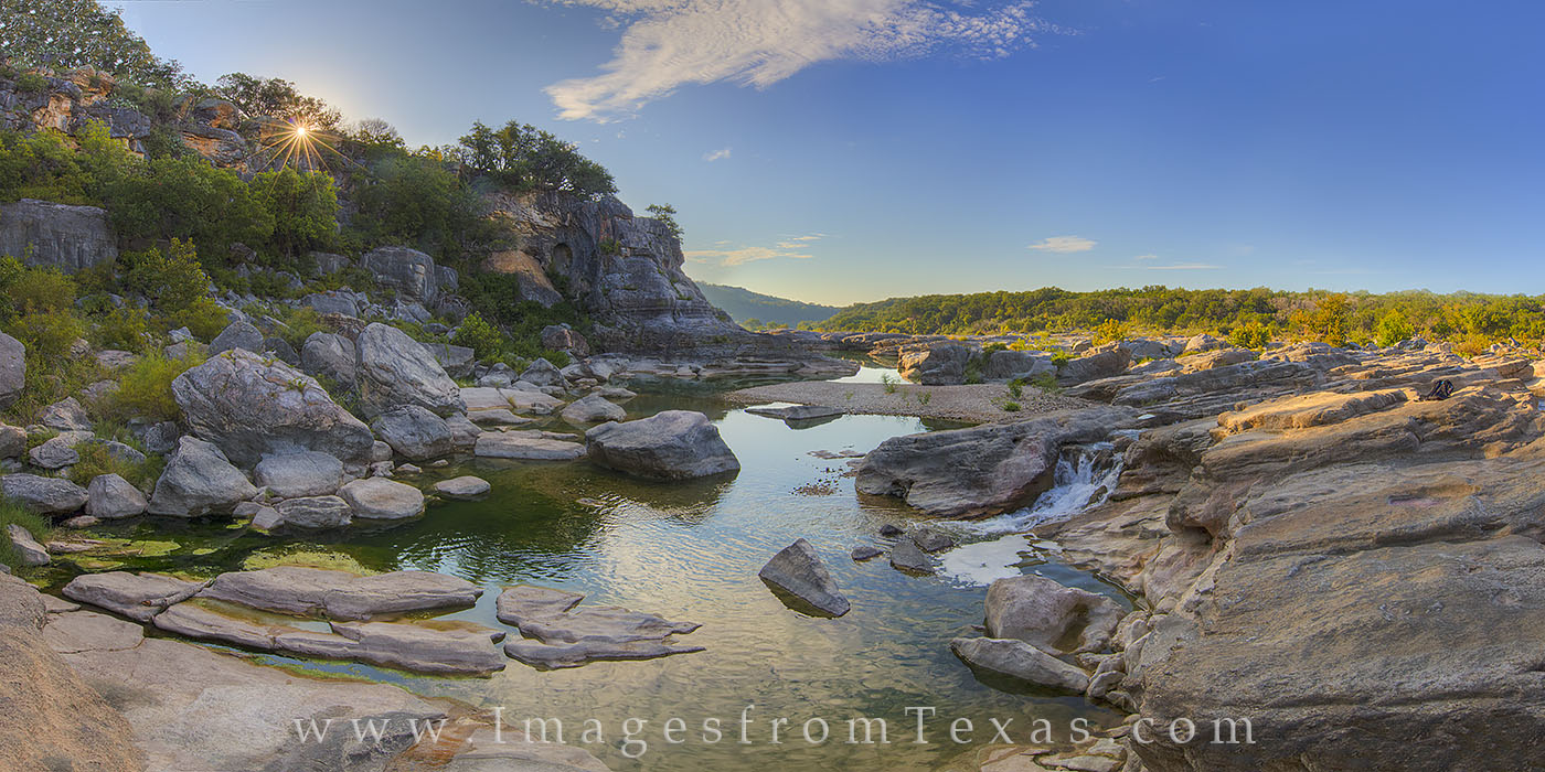 texas hill country, pedernales falls, pedernales river, hill country photos, pedernales falls state park, texas state parks, texas sunrise, texas landscapes, panorama, photo