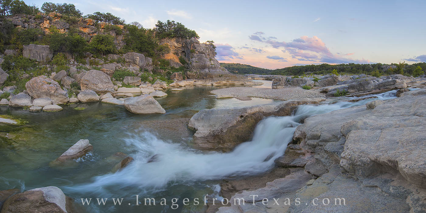 This panorama comes from one of my favorite places in the Texas Hill Country. Here, a clear and gentle Pedernales River cascades...