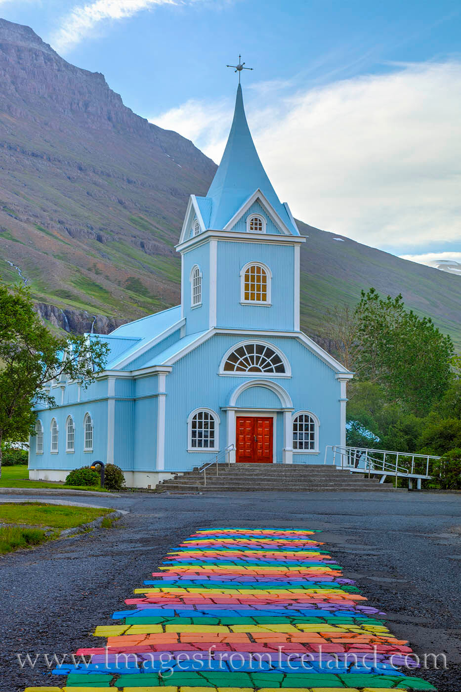 The little Blue Church on Rainbow Street in Seydisfjordur represents acceptance for everyone in a beautiful setting. This town...