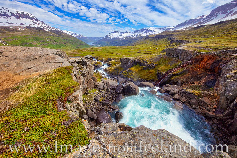 Seydisfjördur, Fjarðará, east iceland, iceland prints, river, pass, summer, morning, exploring iceland