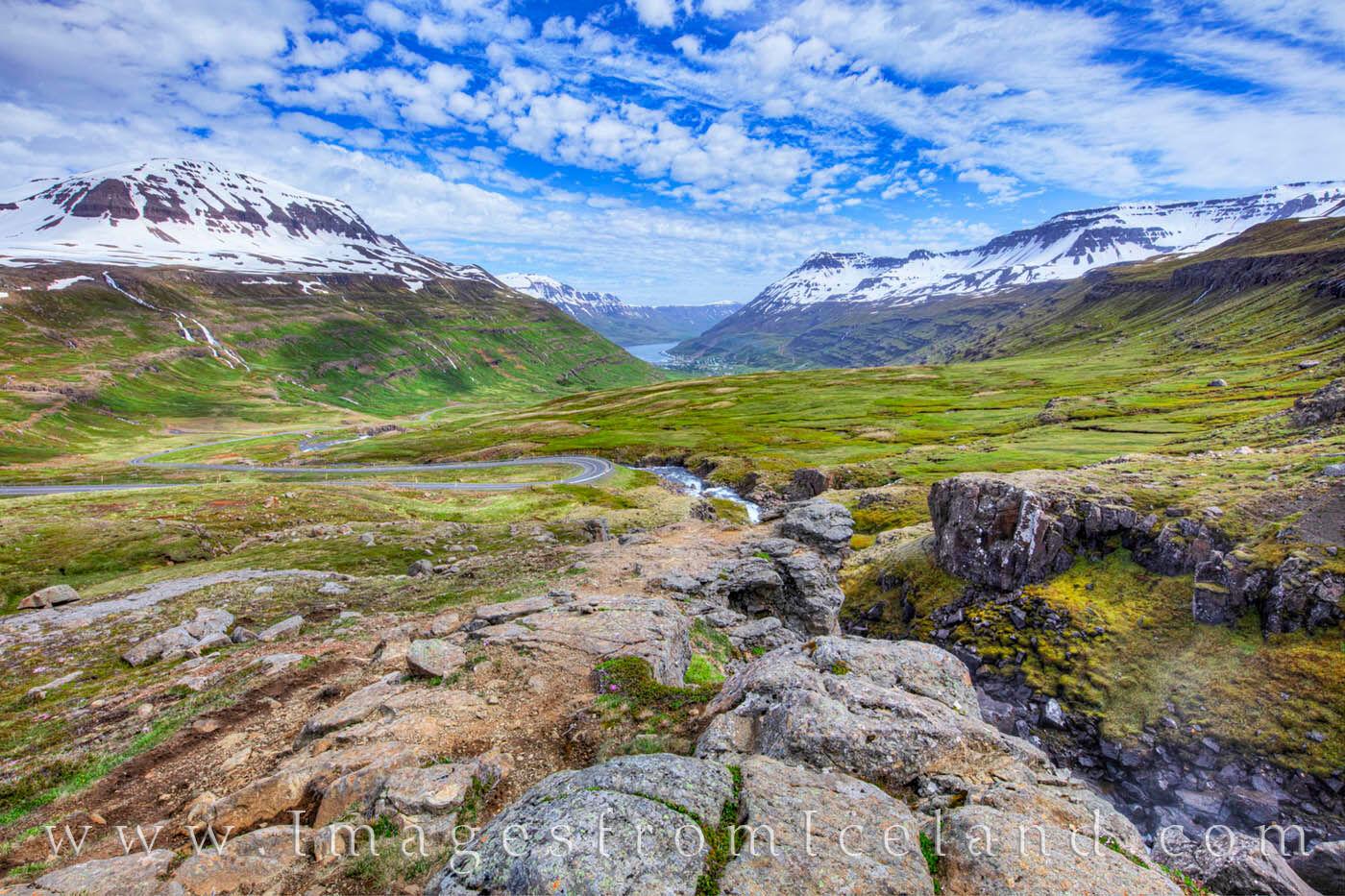 Highway 93, or Vesturvegur, winds down the glacial valley into the village of Seydisfjördur. It follows the River Fjarðará...
