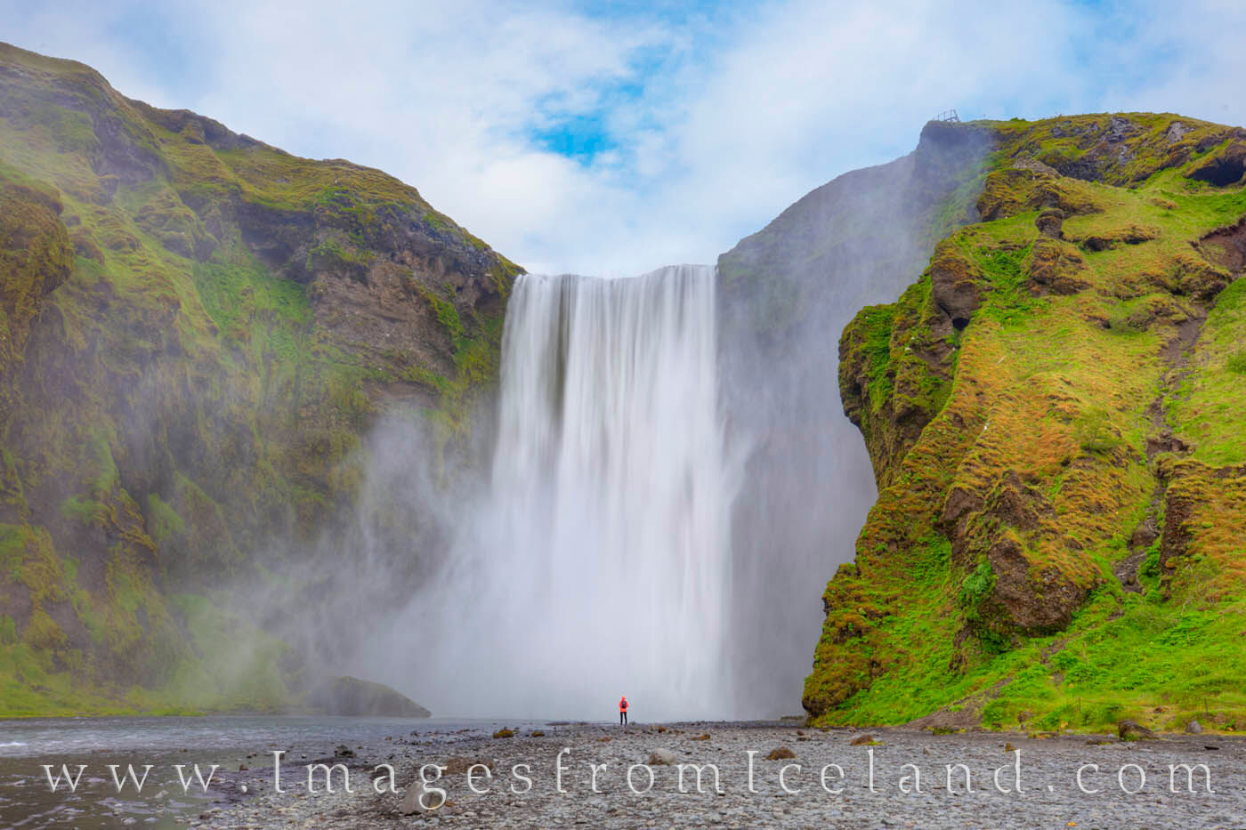 Skógafoss is a waterfall not far west from Vik along the Ring Road on the south coast of Iceland. It flows from the Skógá...