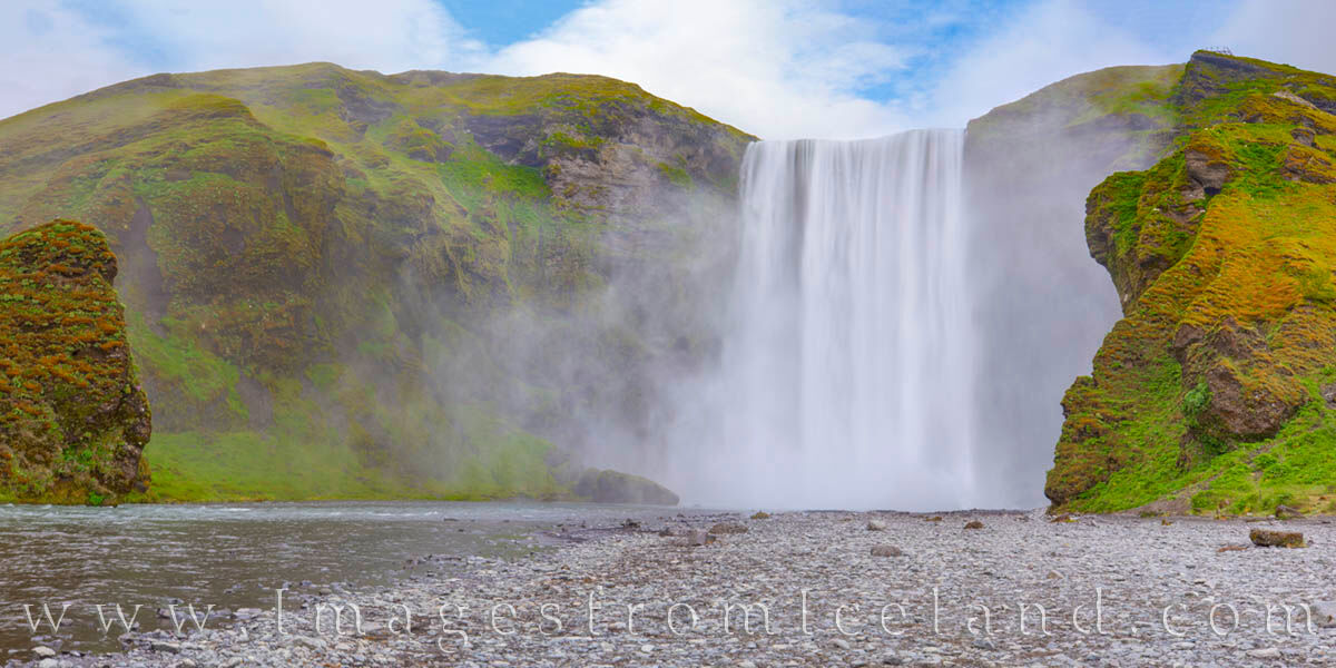 Beautiful and powerful, Skógafoss falls 200 feet, then runs out to the Atlantic Ocean in south Iceland. Just off the Ring Road...