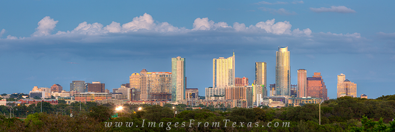 austin skyline pano,austin panorama,austin texas images,hike and bike trail,zilker clubhouse, photo