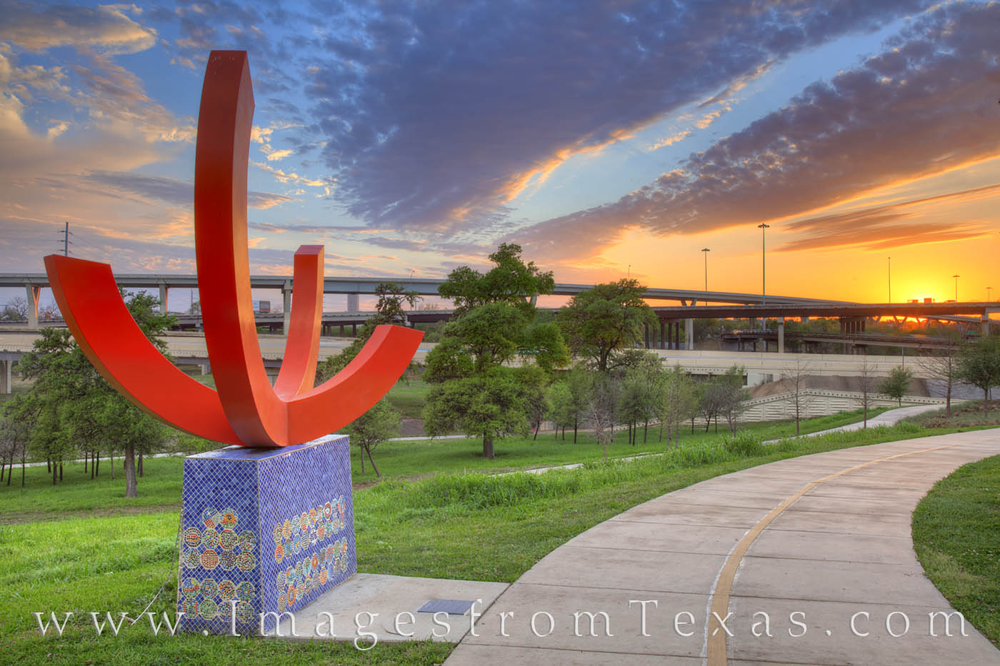 """Located in Hogg Park, this sculpture called """"Snapshot"""" allows visitors to take selfies with downtown Houston in the background..."""