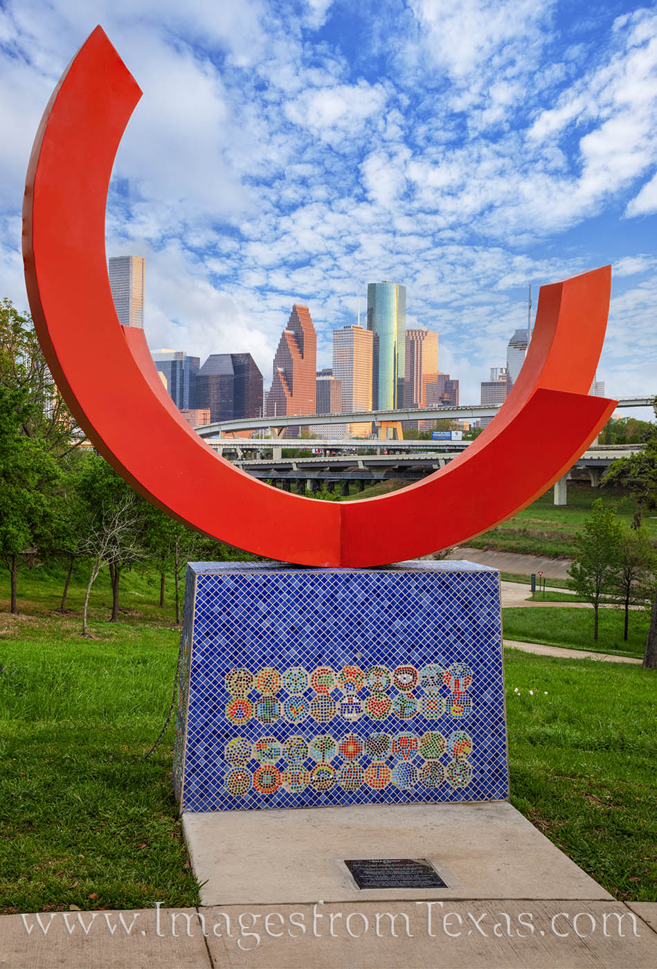 """From Hogg Park, this sculpture is called """"Snapshot"""" and provides a place for folks to take selfies with downtown Houston in the..."""
