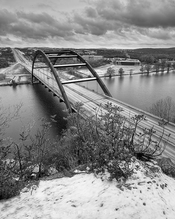 black and white,snow,Texas,360 Bridge,Austin Texas,pennybacker bridge, photo