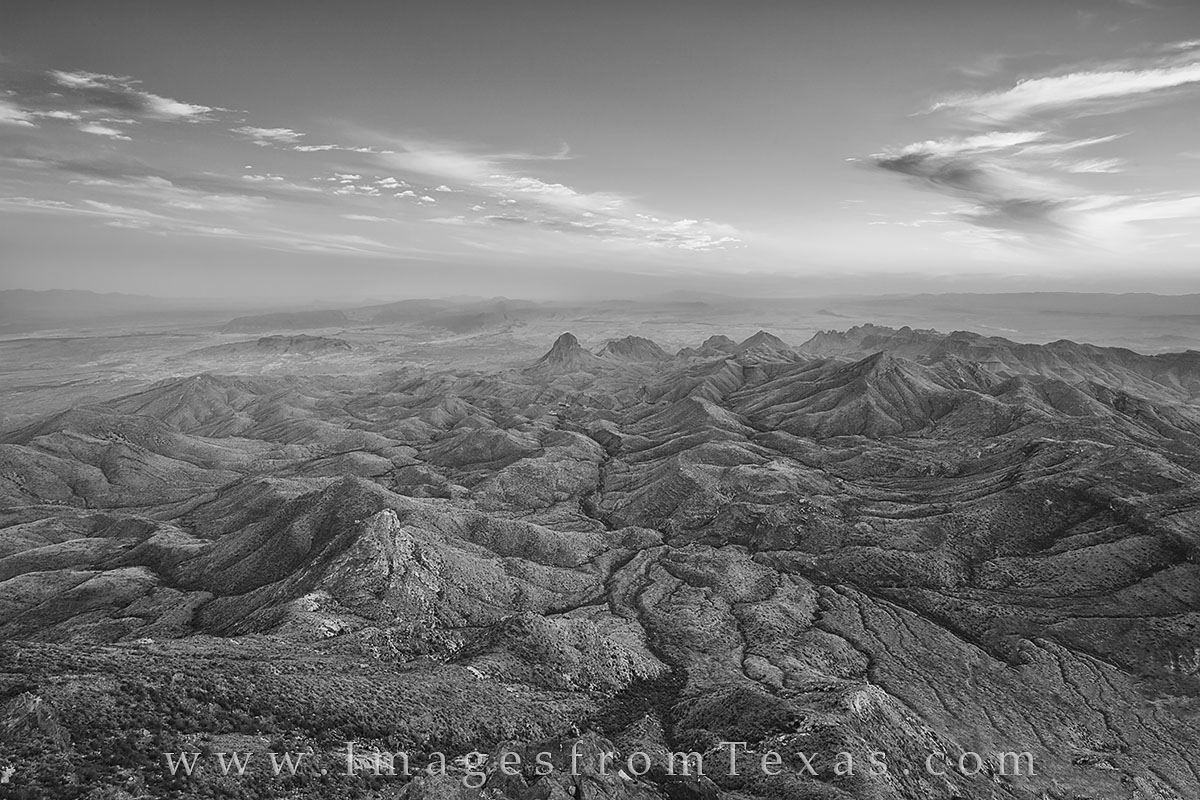 big bend, black and white, big bend national park, south rim, texas in black and white, texas images, texas national park, texas landscapes, chisos mountains, photo