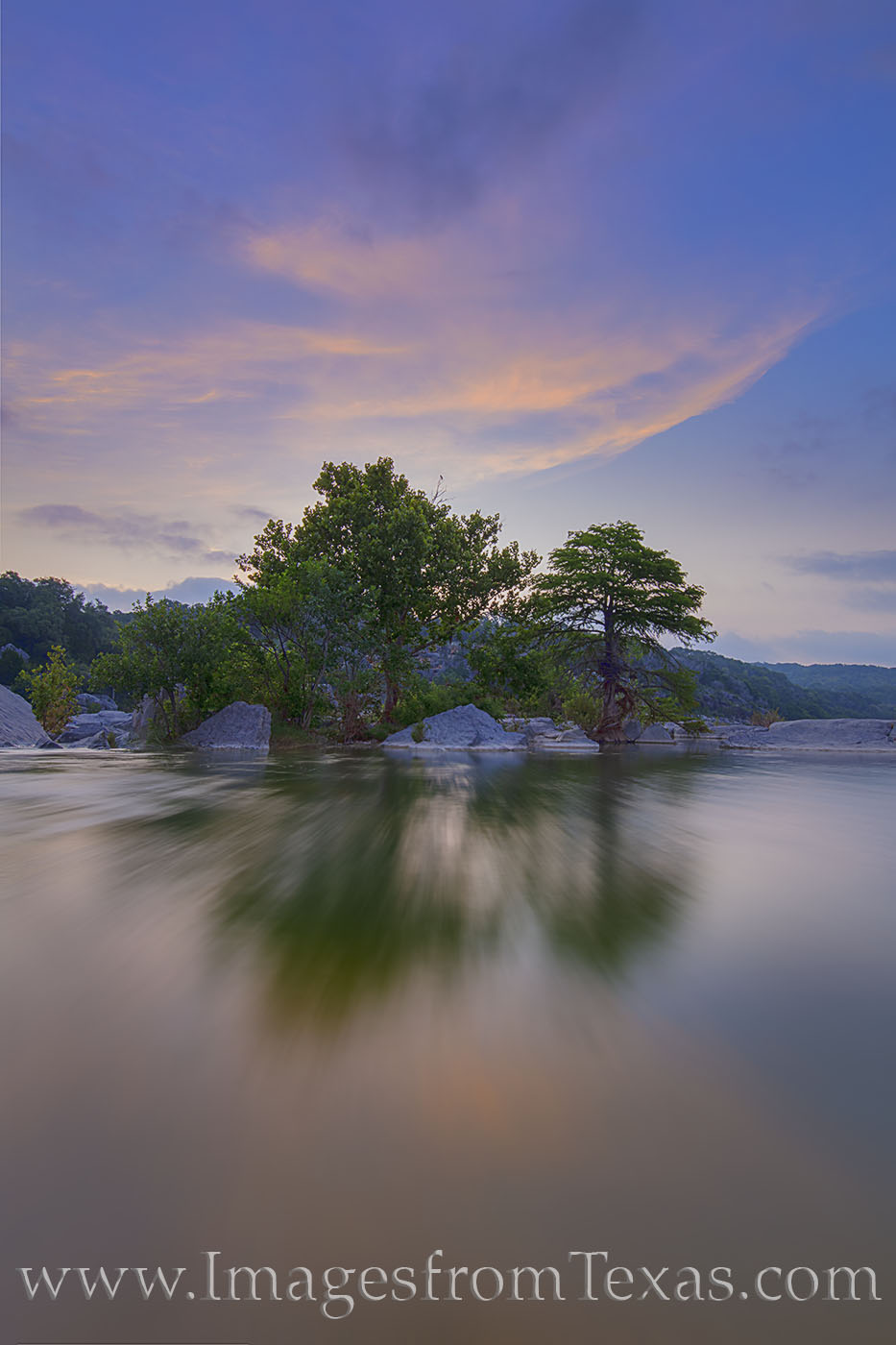 texas hill country, morning, pedernales, river, pedernales falls state park, texas parks, orange, blue, sunrise water, photo
