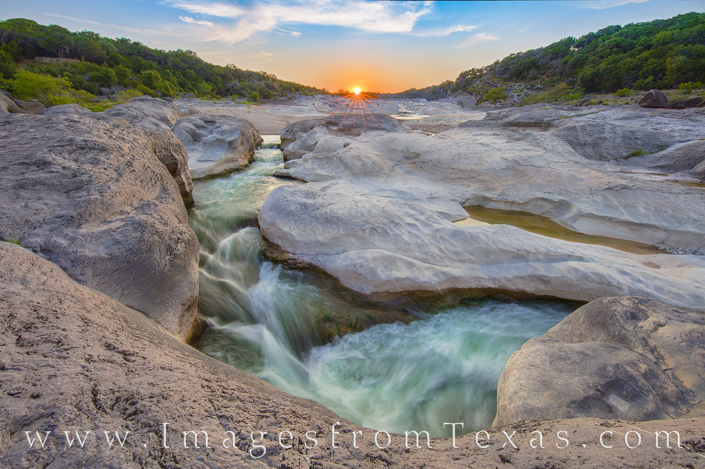 pedernales river, sunset, texas hill country, river, water, state park, pedernales falls, peace, solitude, photo