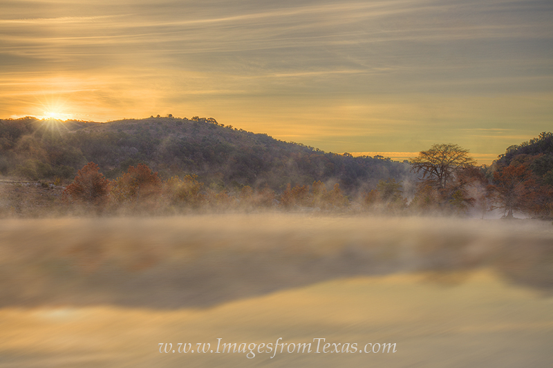 texas hill country,texas sunrise,pedernales falls,pedernales falls state park,autumn colors,texas fog,texas images,texas landscapes, photo