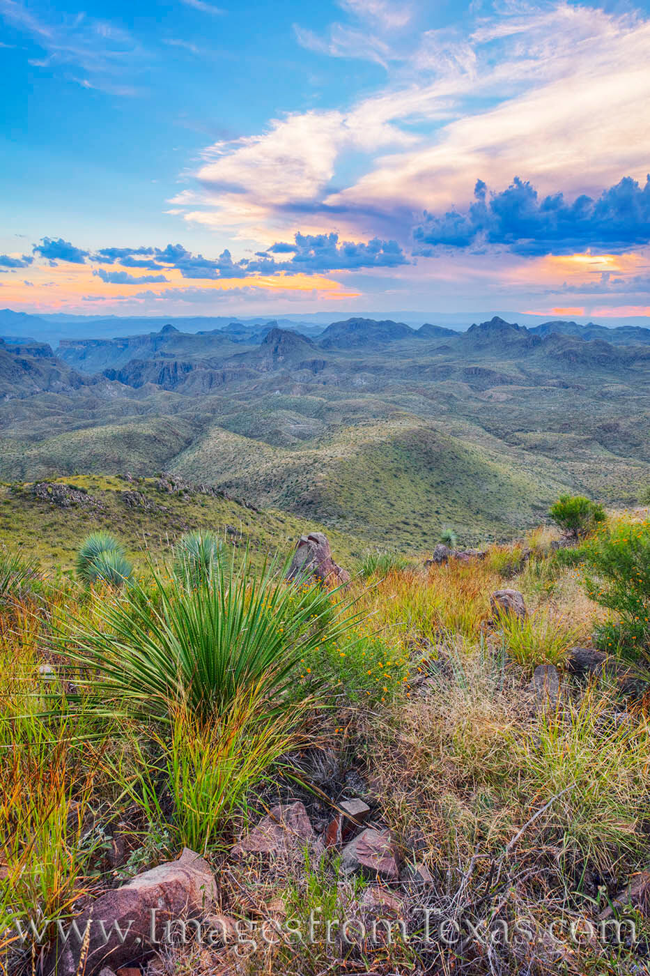 From the summit of Oso Mountain in Big Bend Ranch State Park, a the fall colors of grass paint the slopes in green and rust colors...