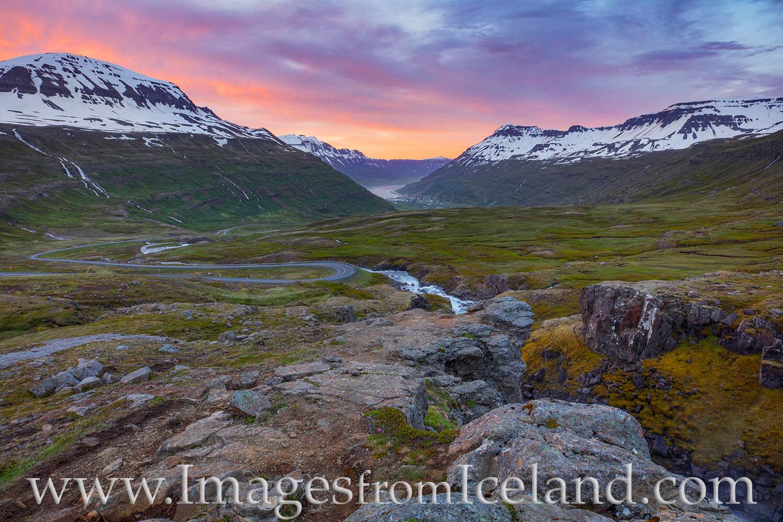 Highway 93 runs east from the Ring Road and Egilsstaðir over Fjarðarheiði Pass and down into the town of Seyðisfjörður....