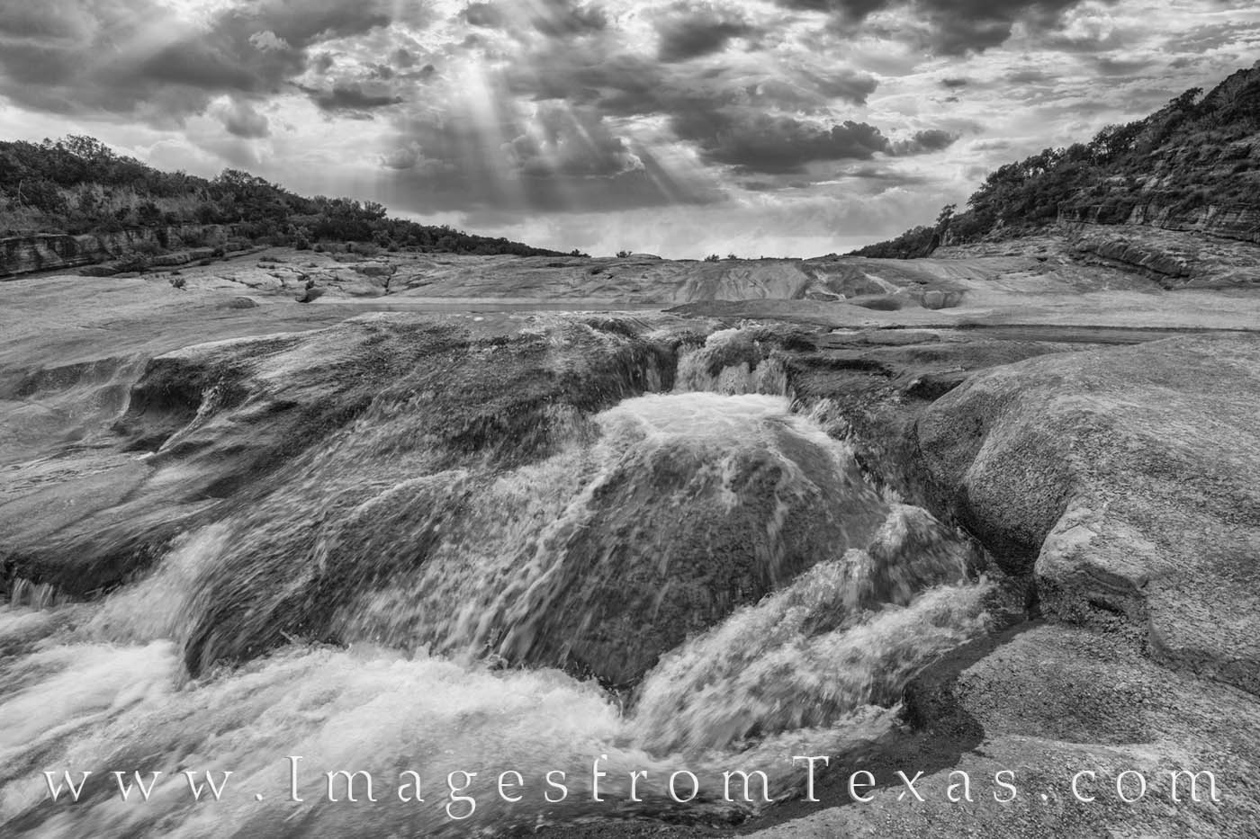 pedernales falls, waterfall, cascade, hill country, black and white, prints for sale, sunshine, light rays, state park, texas parks, photo