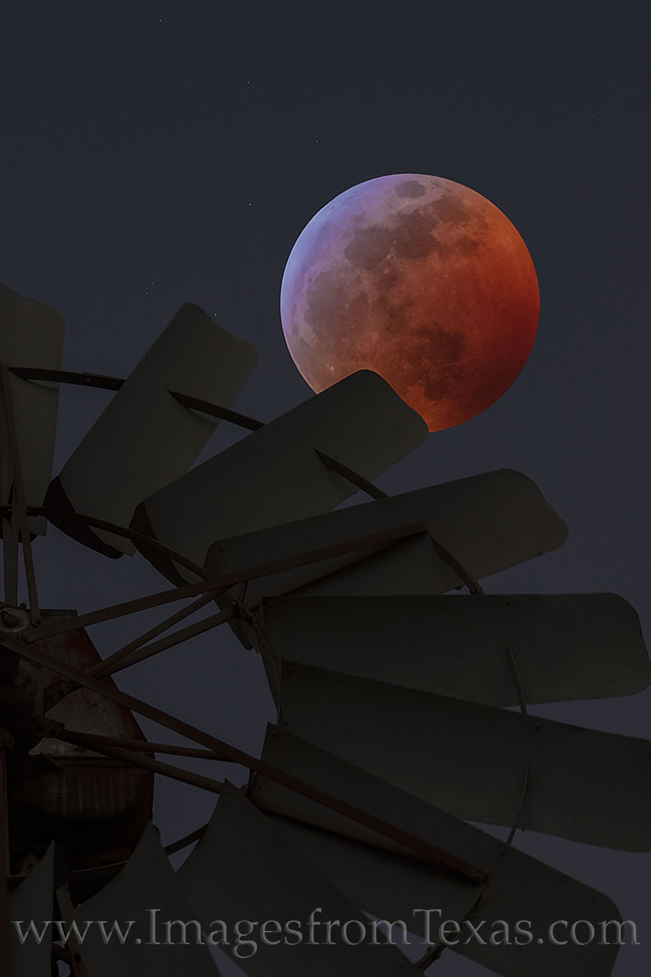 super moon, blood moon, wolf moon, lunar eclipse, texas hill country windmill, night, hill country, total lunar eclipse, red moon, orange moon, full moon, photo