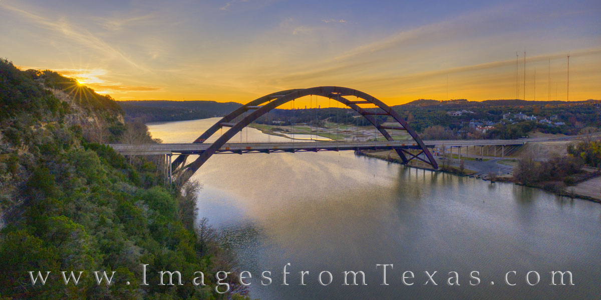 360 bridge, austin texas, sunrise, pennybacker, drone, aerial, morning, panorama, sunburst, colorado river, jenga, winter, cold, december, photo