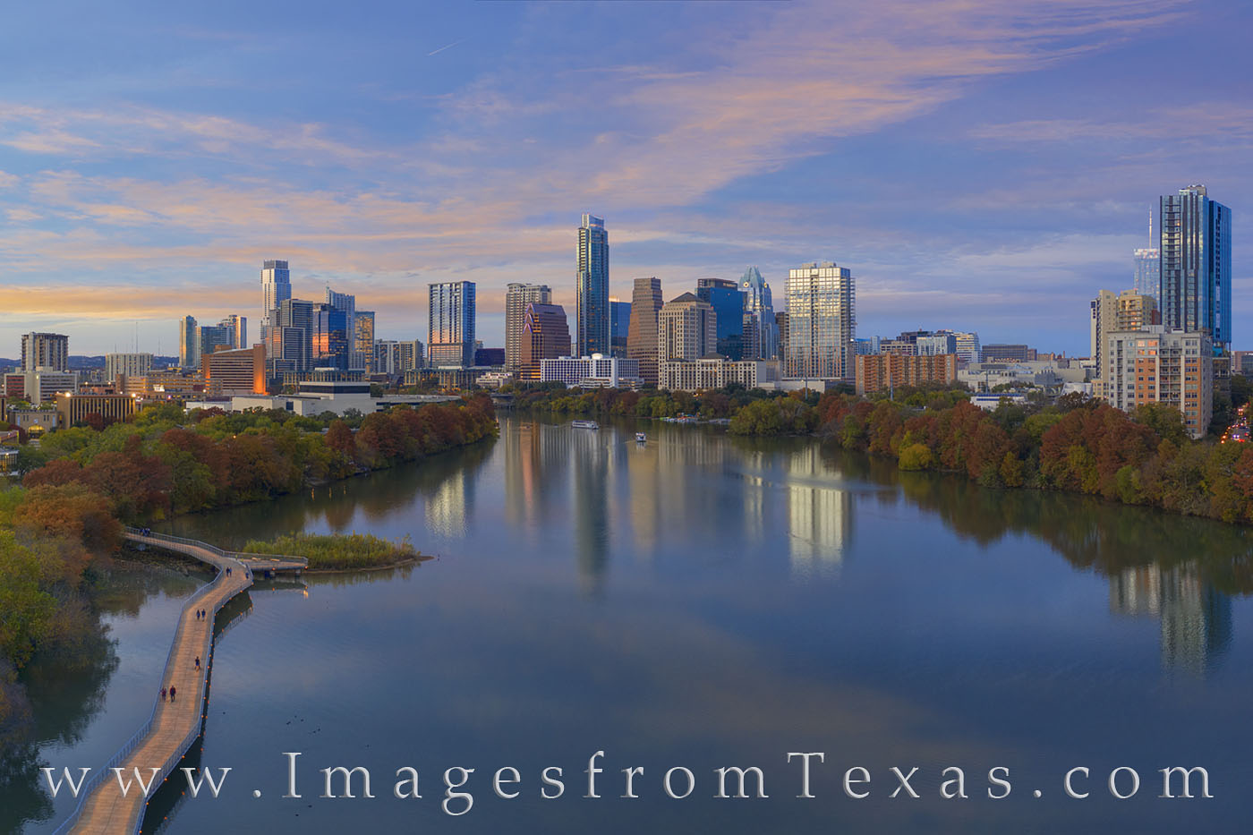 austin skyline, aerial photography, austin aerial, autumn, november, fall colors, ladybird lake, town lake, boardwalk, evening, downtown austin, jenga tower, austonian, drone, photo