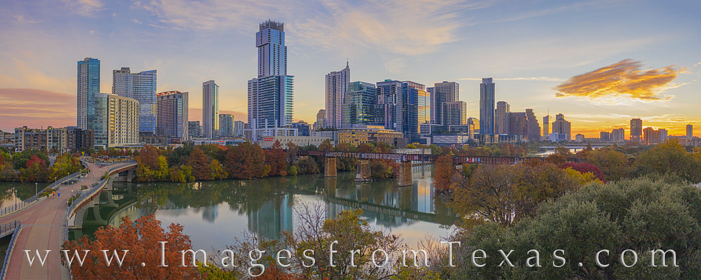 aerial photography, austin skyline, zilker park, ladybird lake, sunrise, panorama, autumn, november, morning, town lake, fall colors, jenga building, independent, austonian, springs, 360 towers, austi, photo