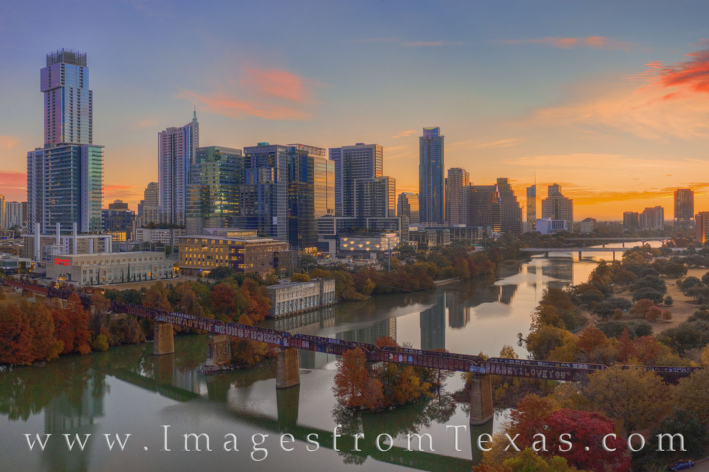 aerial photography; austin skyline; zilker park; ladybird lake; sunrise; autumn; november; morning; town lake; fall colors; jenga building; independent; austonian; springs; 360 towers; austin, photo