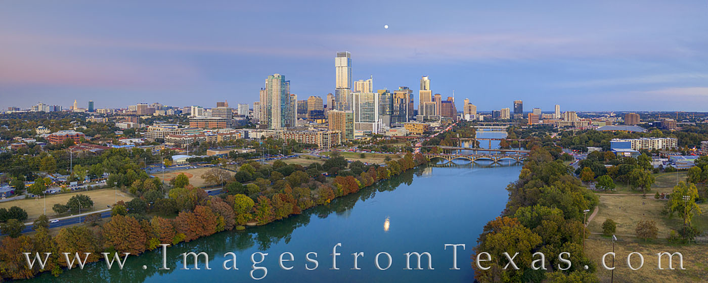 aerial photography, austin skyline, austin panorama, aerial, downtown austin, ladybird lake, town lake, jenga, congess bridge, lamar bridge, first street bridge, fall colors, november, full moon, moon