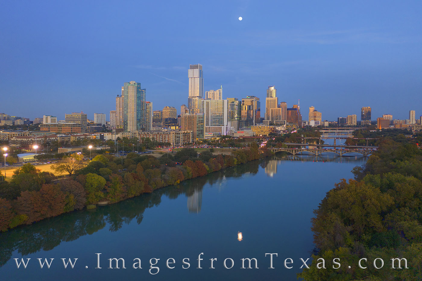 austin skyline, aerial photography, austin aerial, full moon, town lake, ladybird lake, highrises, downtown austin, fall color, autumn, photo