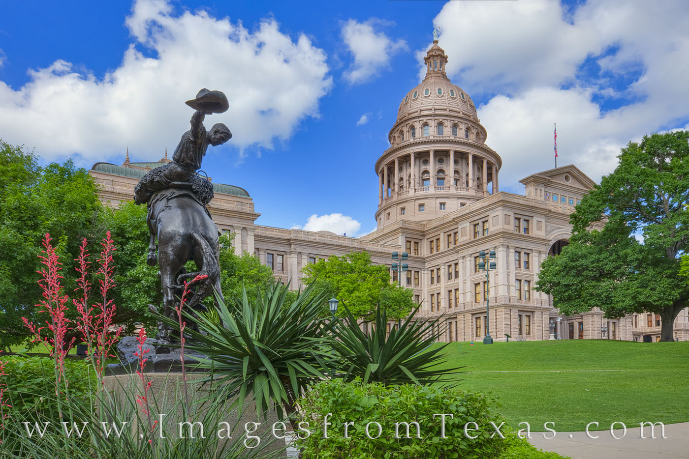 The Texas Cowboy Monument on the Capitol grounds was sculpted in bronze by Constance Whitney Warren. The statue was erected in...