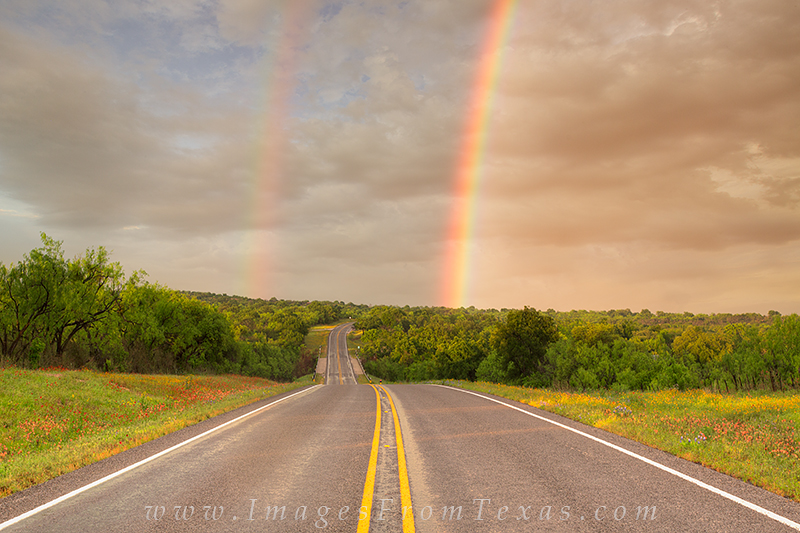 texas hill country images,rainbow,texas wildflowers,llano,mason,Highway 29, photo