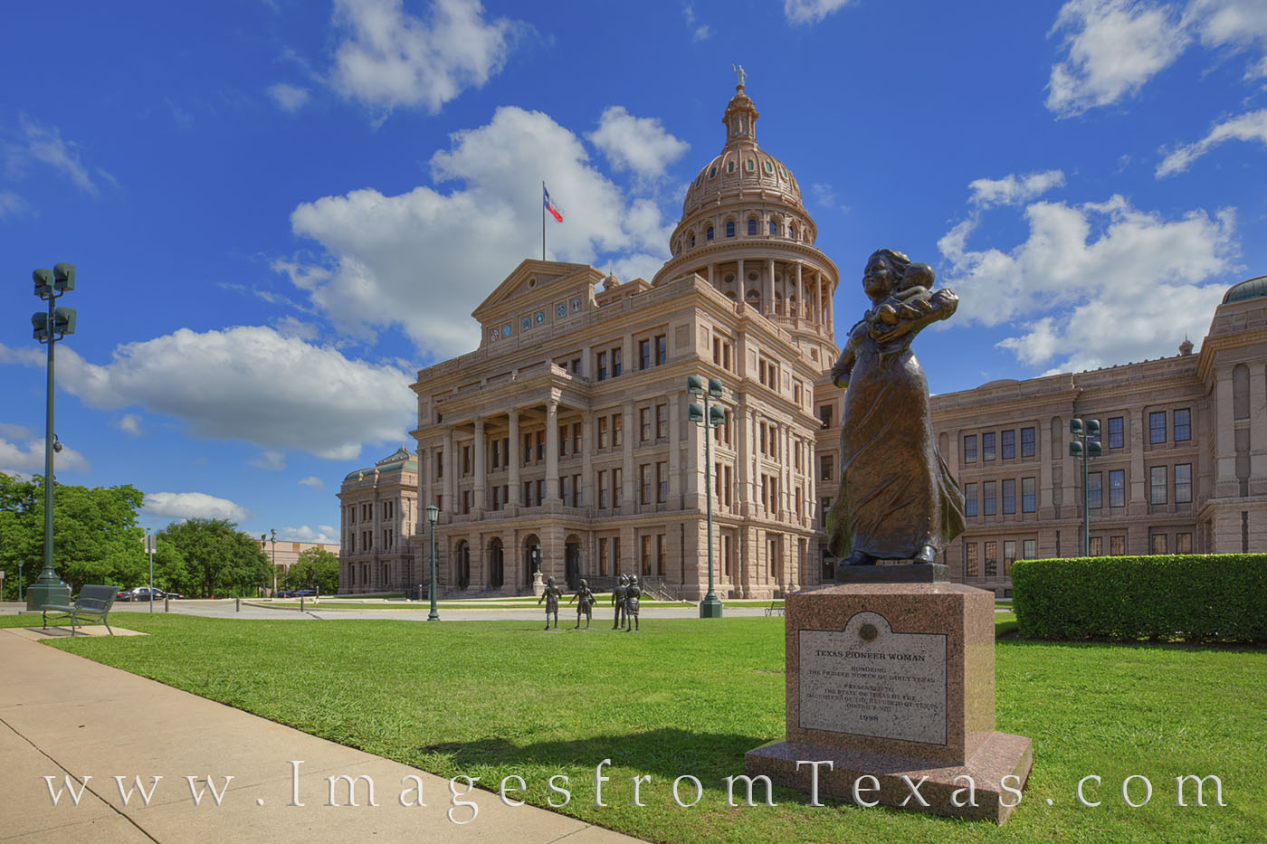 The Pioneer Woman Monument at the Texas State Capitol was erected in 1998 by the Daughters of the Republic of Texas, District...