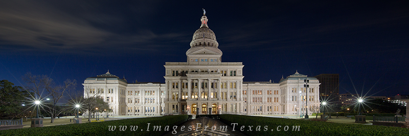 This Texas panorama of the state capitol was taken in the hour before sunrise looking south. Low clouds hung in the sky and eventually...