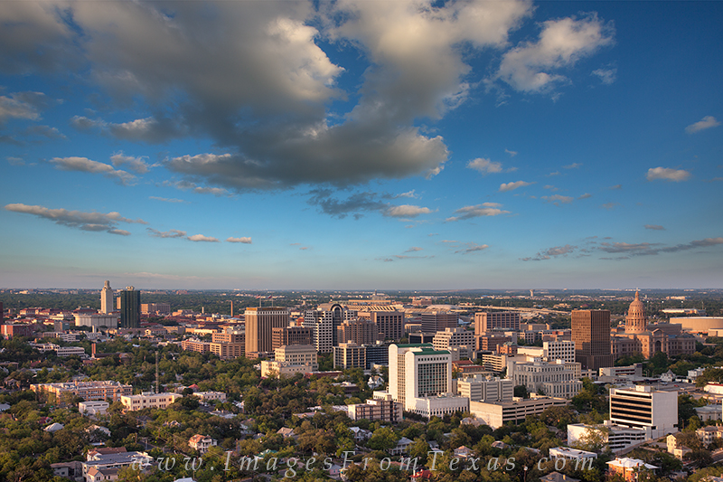 This view of the Austin area shows the UT Tower and Texas State Capitol on an April afternoon.