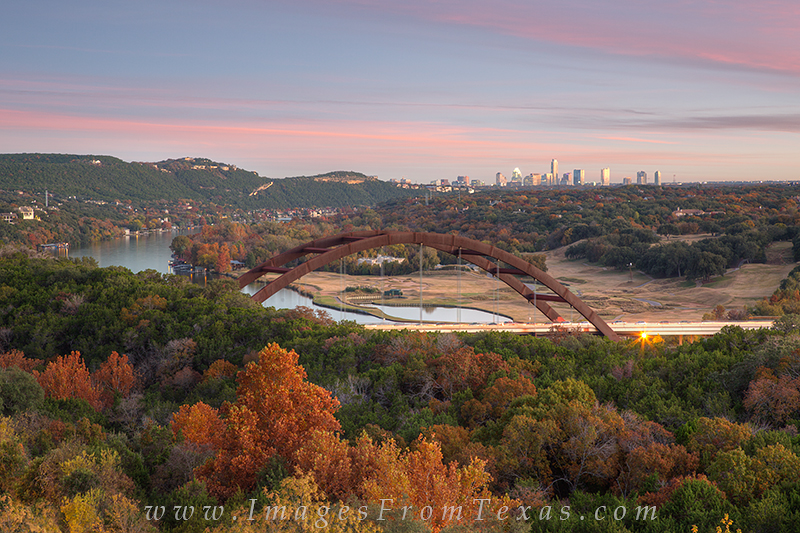 360 bridge,austin texas bridge,austin skyline,austin texas skyline,pennybacker bridge,autumn colors in texas, photo