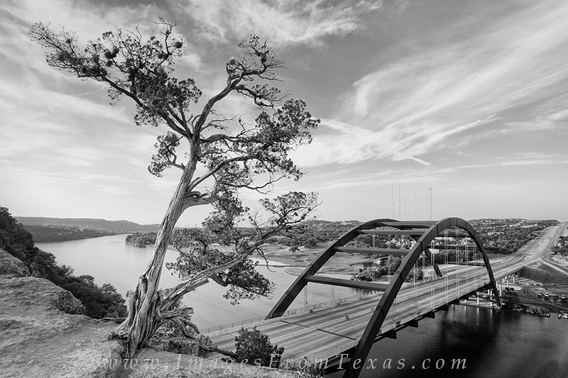 austin in black and white,black and white images,360 Bridge images,pennybacker bridge,austin skyline,austin texas, photo