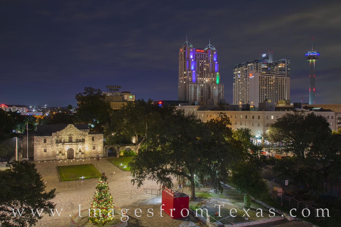 alamo, tower of the americas, christmas, holiday, downtown, christmas tree, photo