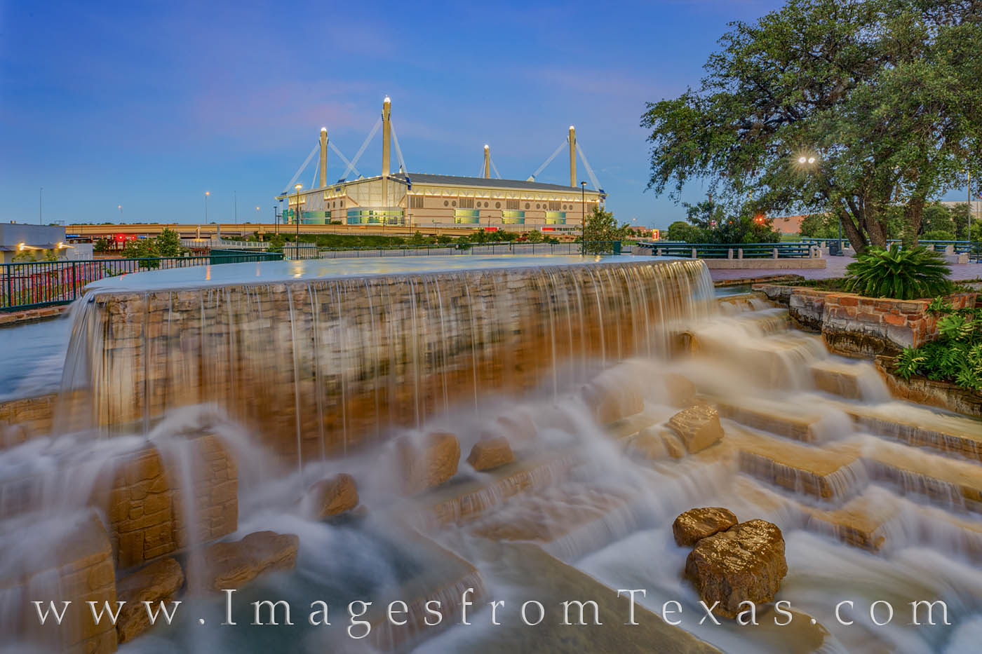 alamodome, san antonio, riverwalk, evening, cascade, waterfall, downtown, photo
