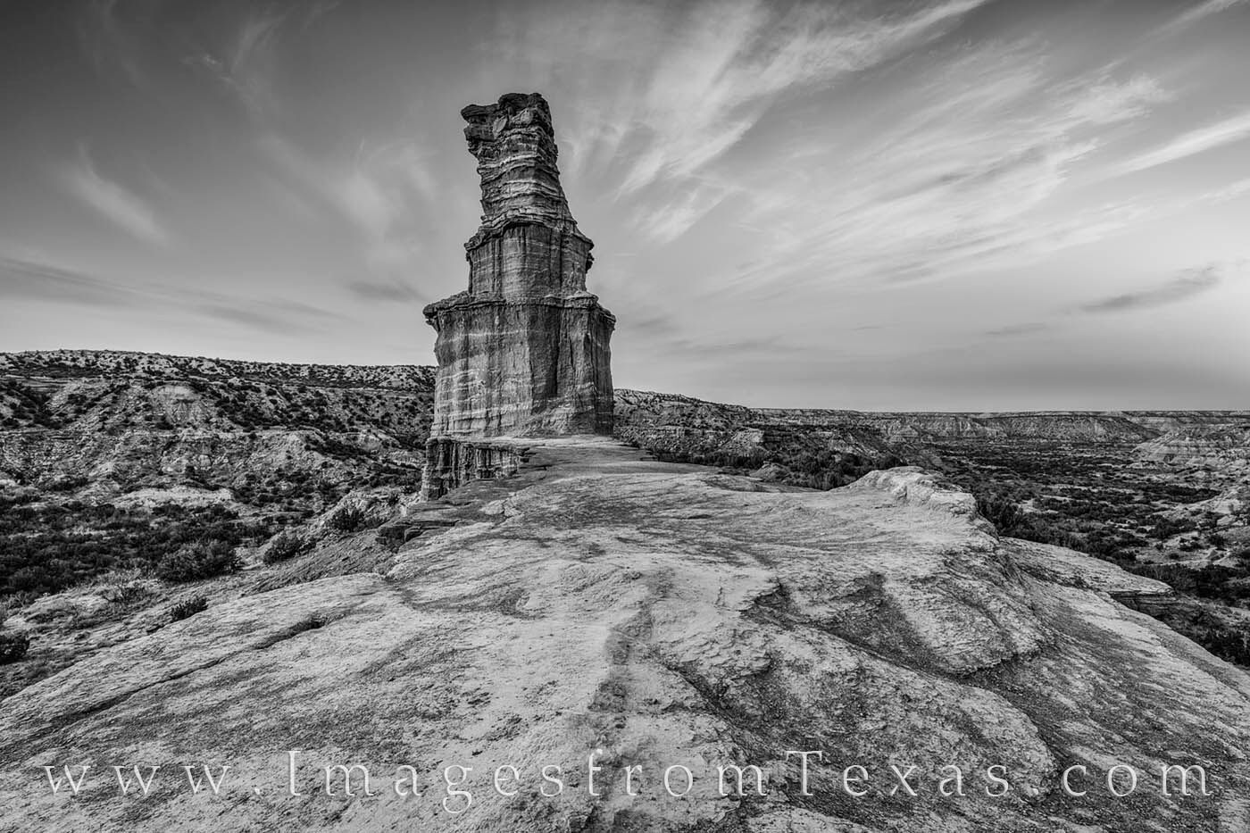 the lighthouse, hiking, palo duro canyon, lighthouse trail, evening, december, texas panhandle, black and white, photo