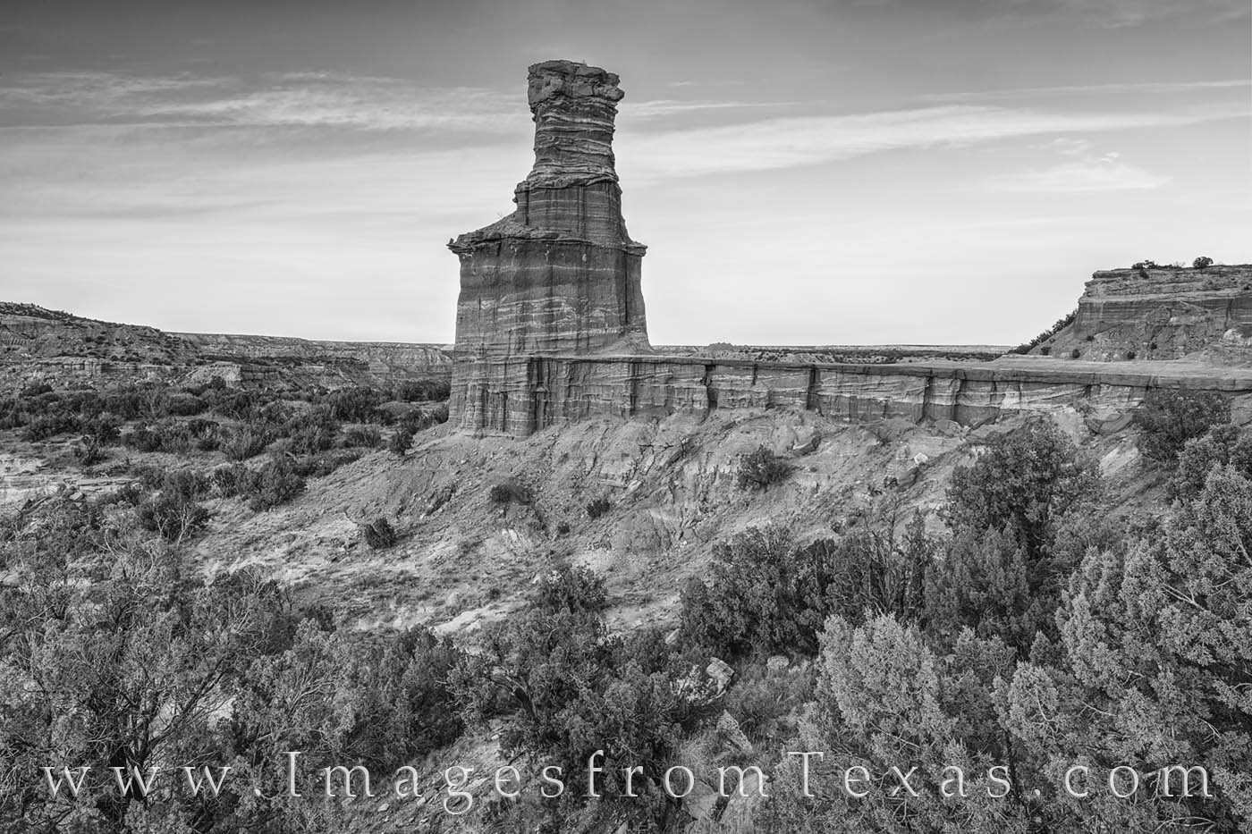 From Palo Duro Canyon, this is the iconic Lighthouse hoodoo in black and white. Seen here on a cool Autumn evening, the landscape...