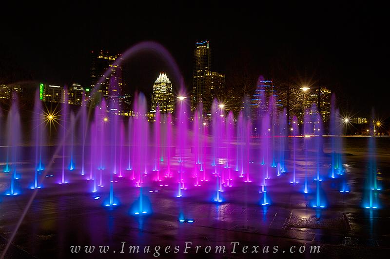 austin fountains,liz carpenter fountains,austin skyline stock,austin skyline prints,downtown austin texas, photo