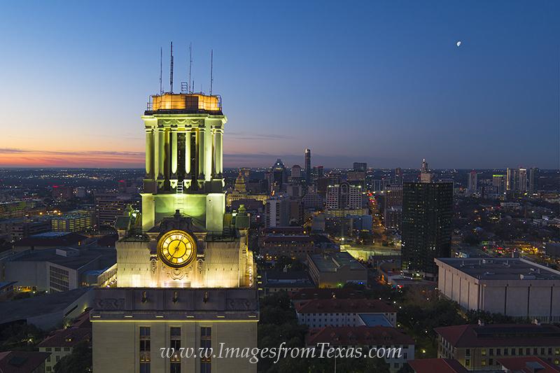 Texas Tower,Downtown Austin,UT Tower,University of Texas campus,austin skyline,austin sunrise,aerial photography,austin aerial, photo
