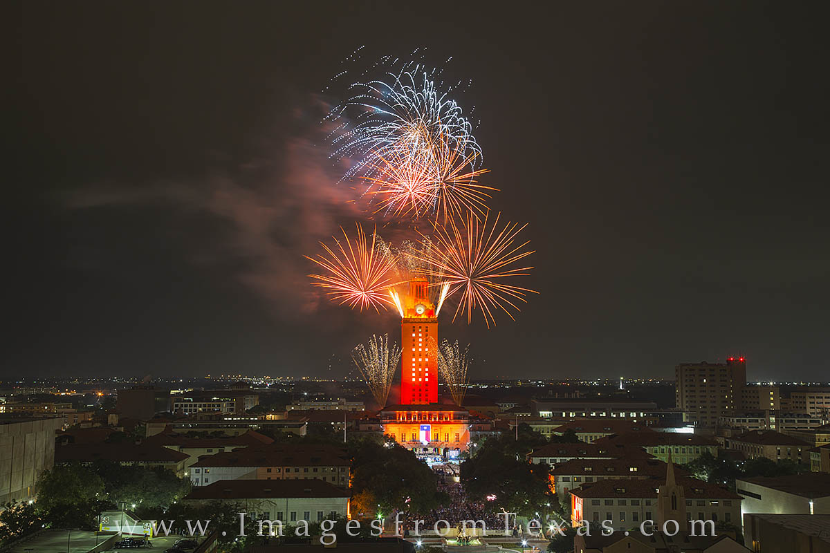 UT Graduation, UT fireworks, Texas fireworks, University of Texas, UT Austin, Texas Tower, Texas tower fireworks, UT Tower fireworks, photo