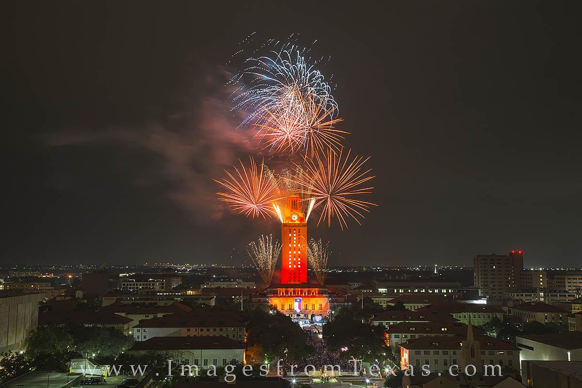 UT Graduation, UT fireworks, Texas fireworks, University of Texas, UT Austin, Texas Tower, Texas tower fireworks, UT Tower fireworks, photo