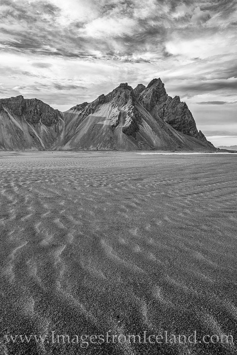From south Iceland's Vestrahorn, this black and white photograph shows the iconic mountain in the late afternoon.
