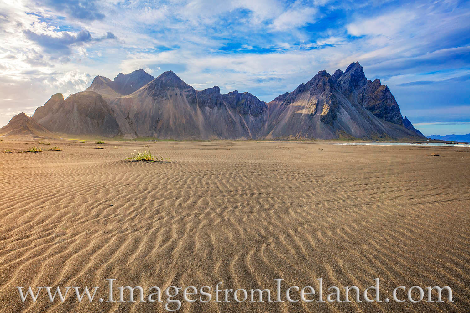 The sand dunes near the beach at Vestrahorn are in constant motion from the ocean breeze, always changing their lines and angles...