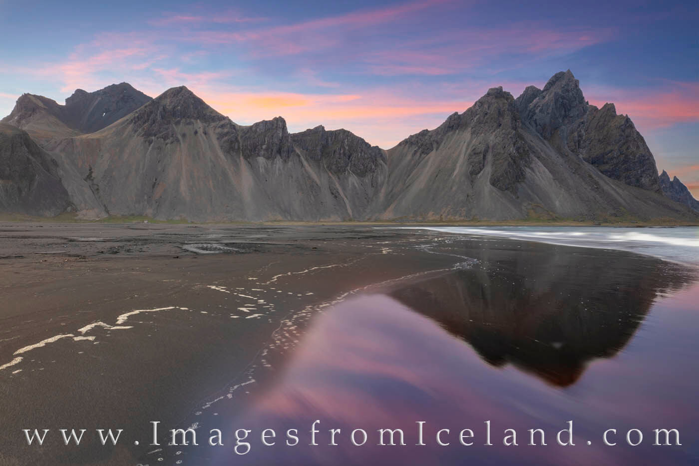 Taken after midnight on a cool and breezy summer evening, this photograph shows the iconic Vestrahorn rising up 454 meters into...