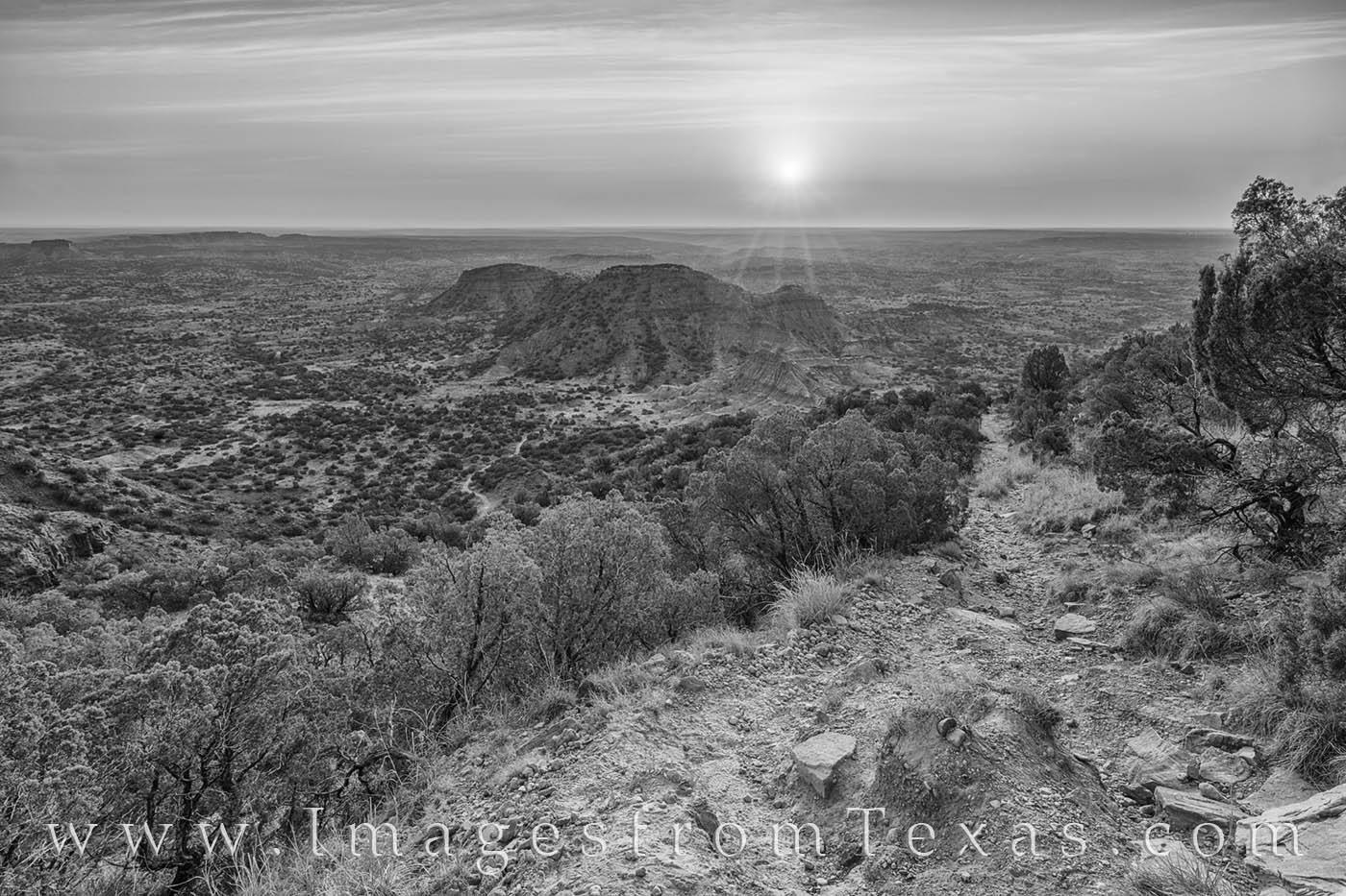 haynes ridge, caprock canyon, sunrise, hiking, caprock canyons state park, caprock prints, west texas, briscoe county, texas landscapes, photo