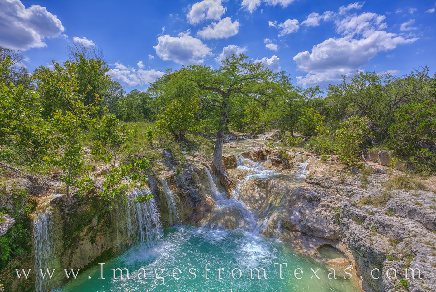 waterfall, hill country, edge falls, kendalia, summer, blue sky, june, turquois, water, afternoon, peace, photo