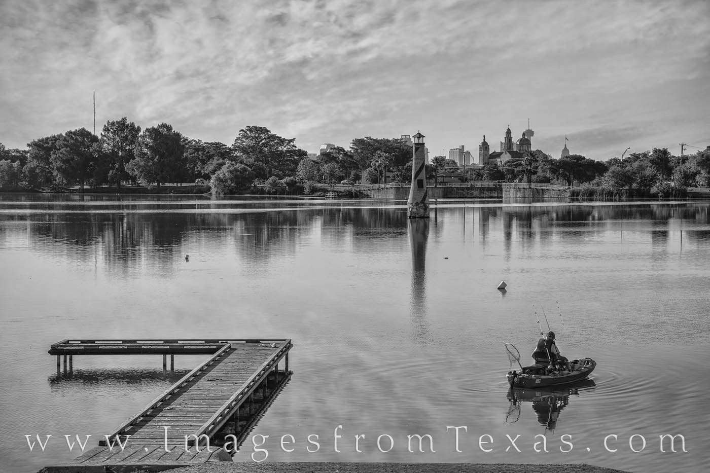 woodlawn lake, san antonio, san antonio skyline, morning, fisherman, fishing, peace, summer, black and white, photo