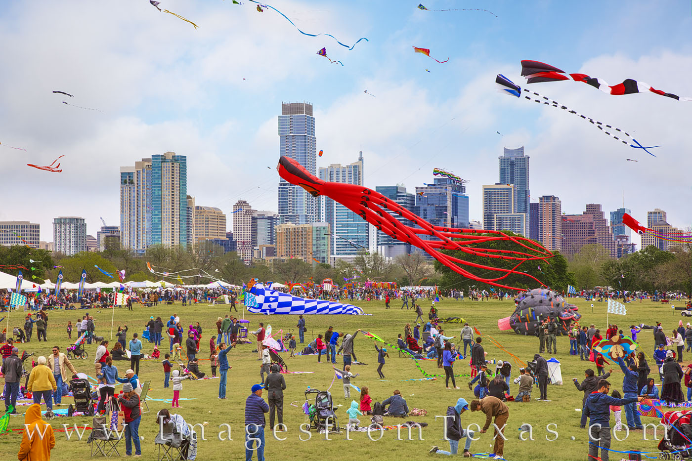 zilker park, kite festival, austin texas, downtown austin, skyline, march, spring, photo