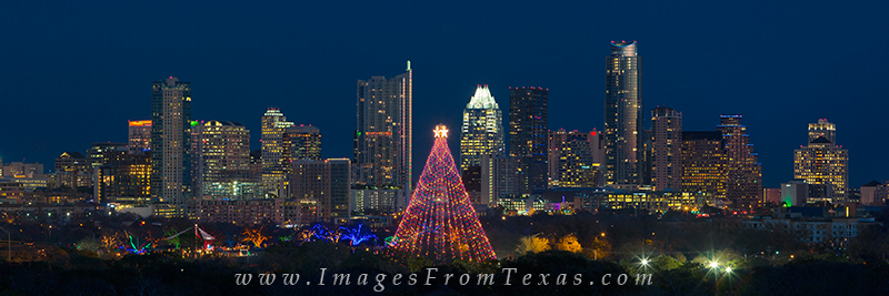 Trail of Lights,Zilker Park Christmas Tree,Trail of Lights 2013,Austin  skyline - Zilker Park Tree And Austin Skyline Pano Austin, Texas Images